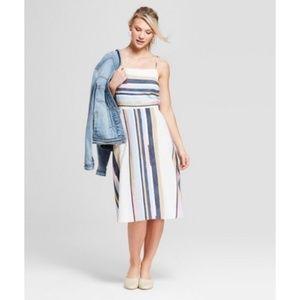 Universal Thread Striped Strappy Linen Blend Dress